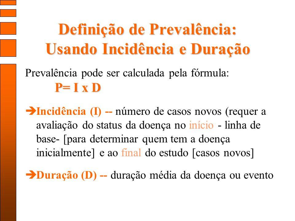 Definição de Prevalência: Usando Incidência e Duração P= I x D Prevalência pode ser calculada pela fórmula: P= I x D Incidência (I) -- número de casos novos (requer a avaliação do status da doença no início - linha de base- [para determinar quem tem a doença inicialmente] e ao final do estudo [casos novos] Duração (D) -- duração média da doença ou evento