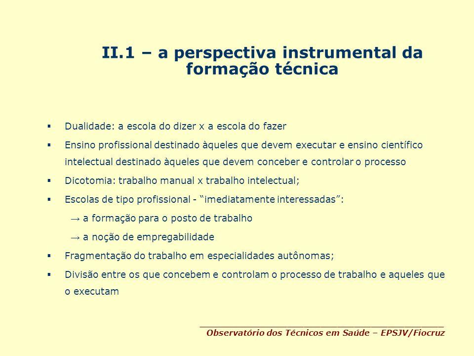 II.1 – a perspectiva instrumental da formação técnica Dualidade: a escola do dizer x a escola do fazer Ensino profissional destinado àqueles que devem