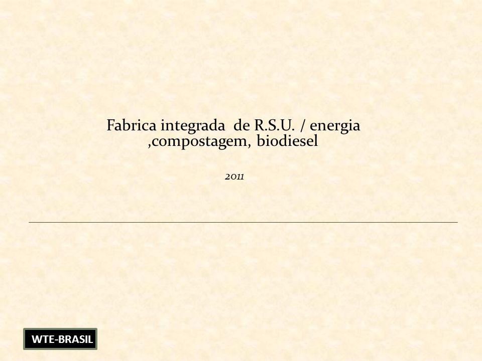 Fabrica integrada de R.S.U. / energia,compostagem, biodiesel 2011 WTE-BRASIL