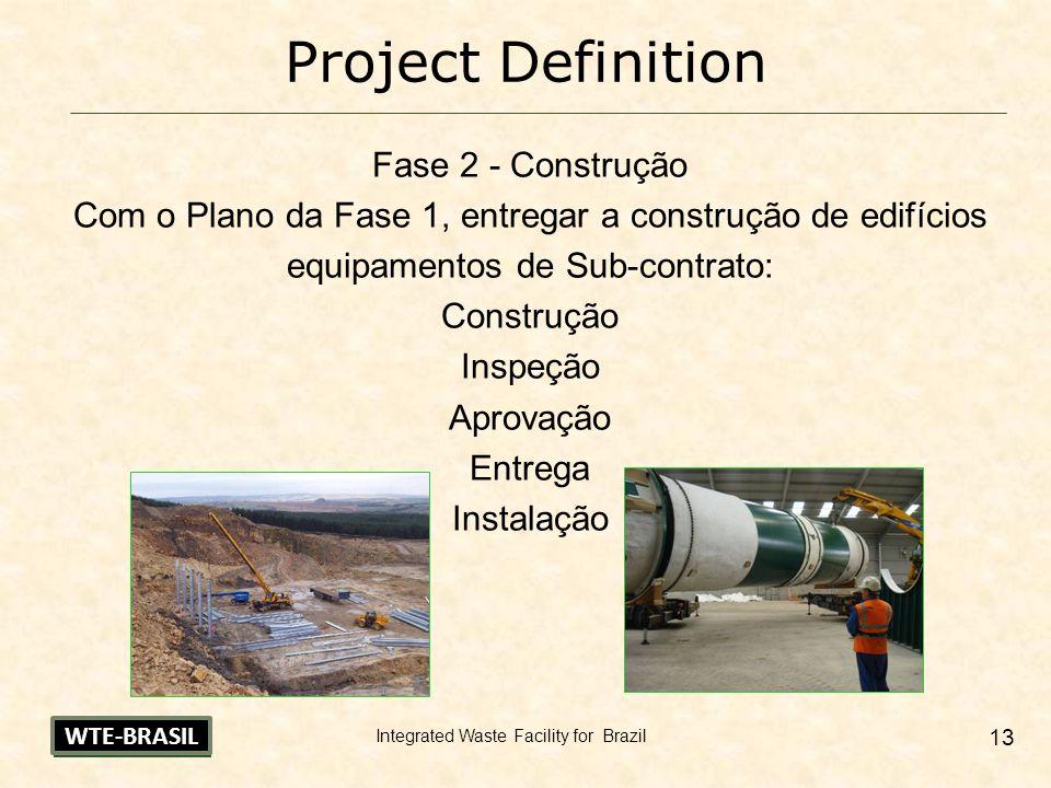 Integrated Waste Facility for Brazil 13 Project Definition Fase 2 - Construção Com o Plano da Fase 1, entregar a construção de edifícios equipamentos