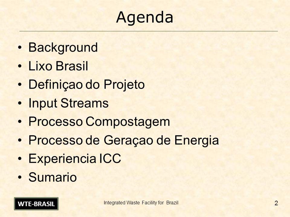 Integrated Waste Facility for Brazil 2 Agenda Background Lixo Brasil Definiçao do Projeto Input Streams Processo Compostagem Processo de Geraçao de En