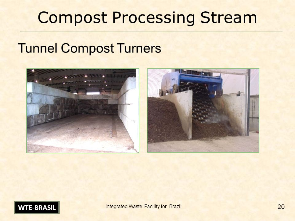 Integrated Waste Facility for Brazil 20 Compost Processing Stream Tunnel Compost Turners WTE-BRASIL