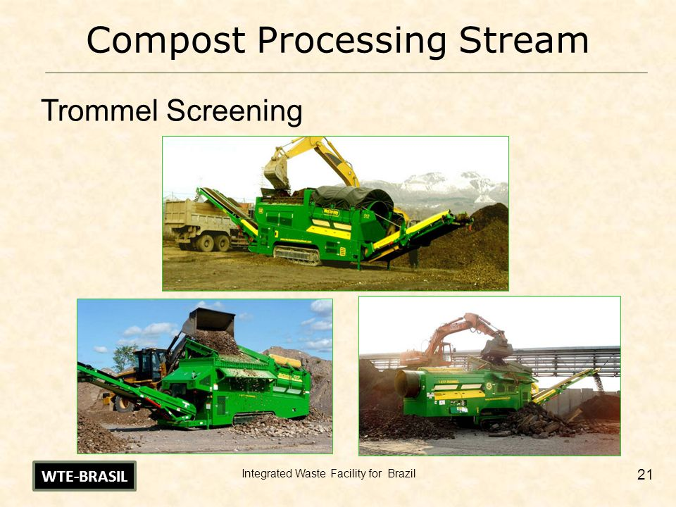 Integrated Waste Facility for Brazil 21 Compost Processing Stream Trommel Screening WTE-BRASIL
