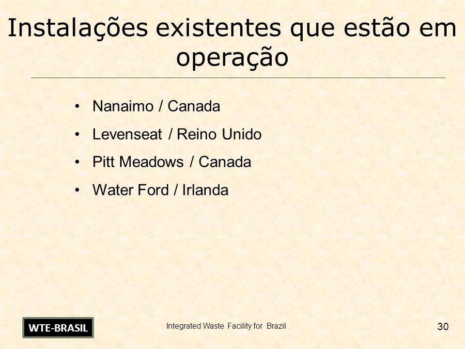 Integrated Waste Facility for Brazil 30 Instalações existentes que estão em operação Nanaimo / Canada Levenseat / Reino Unido Pitt Meadows / Canada Wa