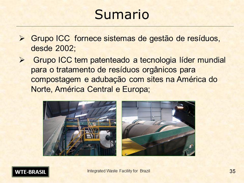 Integrated Waste Facility for Brazil 35 Sumario Grupo ICC fornece sistemas de gestão de resíduos, desde 2002; Grupo ICC tem patenteado a tecnologia lí