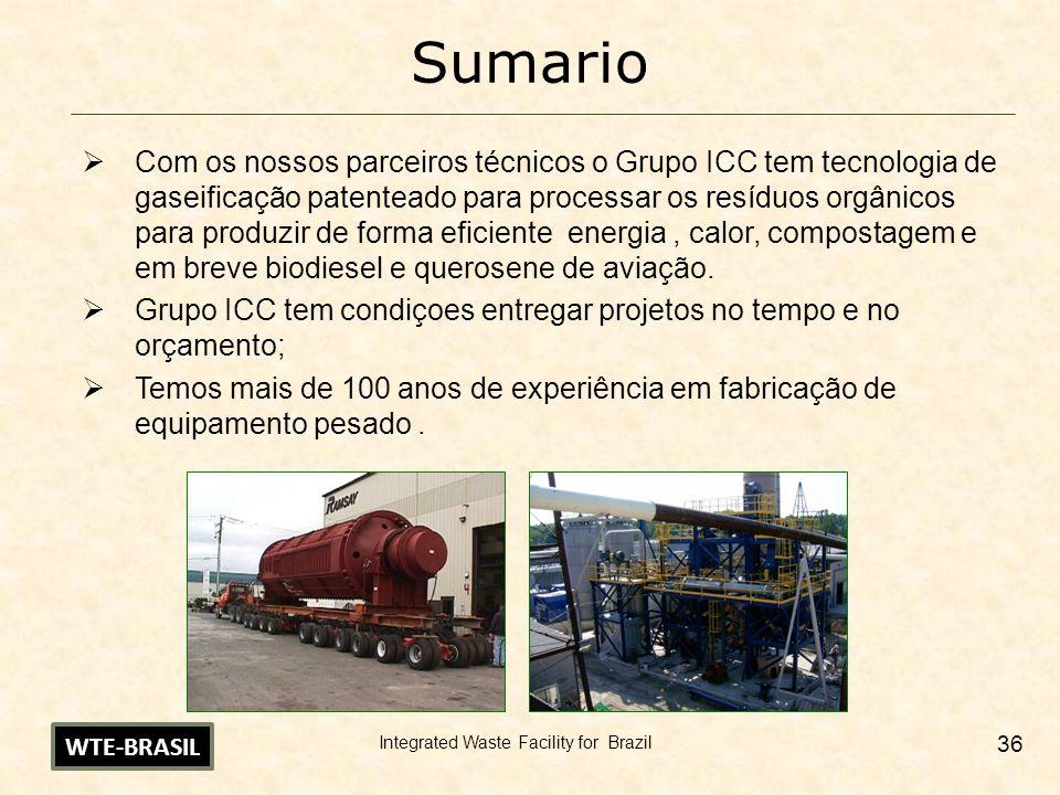 Integrated Waste Facility for Brazil 36 Sumario Com os nossos parceiros técnicos o Grupo ICC tem tecnologia de gaseificação patenteado para processar