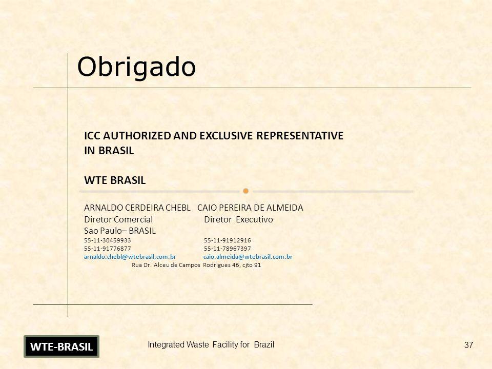 Obrigado ICC AUTHORIZED AND EXCLUSIVE REPRESENTATIVE IN BRASIL WTE BRASIL ARNALDO CERDEIRA CHEBL CAIO PEREIRA DE ALMEIDA Diretor Comercial Diretor Exe