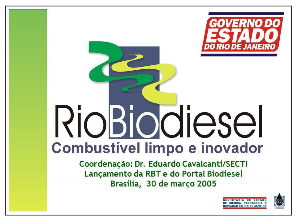 Combustível limpo e inovador Coordenação: Dr. Eduardo Cavalcanti/SECTI Lançamento da RBT e do Portal Biodiesel Brasília, 30 de março 2005