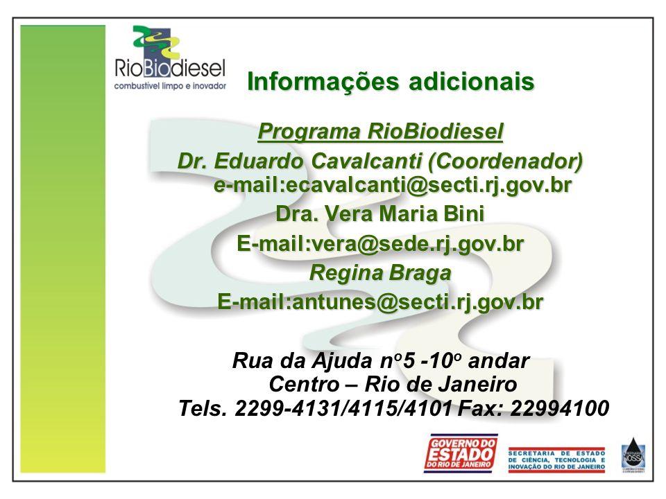 Informações adicionais Programa RioBiodiesel Dr. Eduardo Cavalcanti (Coordenador) e-mail:ecavalcanti@secti.rj.gov.br Dra. Vera Maria Bini E-mail:vera@