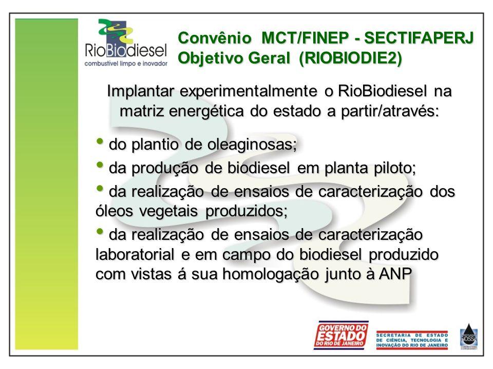 Convênio MCT/FINEP - SECTIFAPERJ Objetivo Geral (RIOBIODIE2) Implantar experimentalmente o RioBiodiesel na matriz energética do estado a partir/atravé