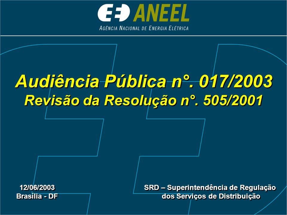 Audiência Pública n°. 017/2003 Revisão da Resolução n°. 505/2001 12/06/2003 Brasília - DF 12/06/2003 Brasília - DF SRD – Superintendência de Regulação