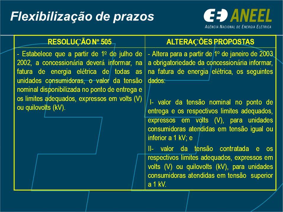 RESOLU Ç ÃO N º 505ALTERA Ç ÕES PROPOSTAS - Estabelece que a partir de 1 o de julho de 2002, a concession á ria dever á informar, na fatura de energia