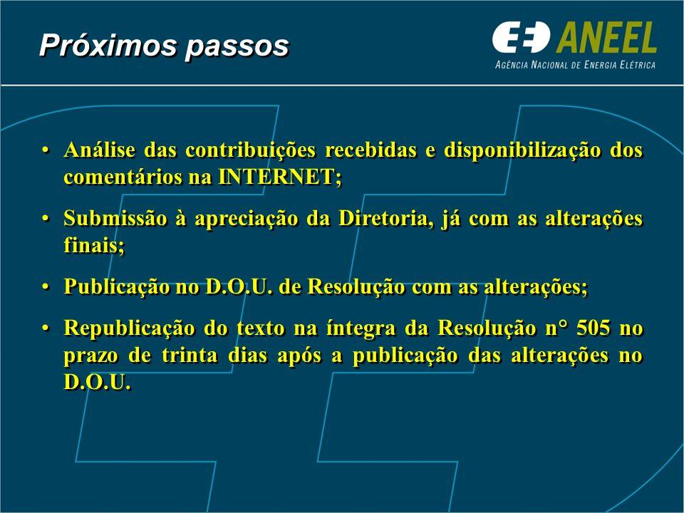 Próximos passos Análise das contribuições recebidas e disponibilização dos comentários na INTERNET; Submissão à apreciação da Diretoria, já com as alt