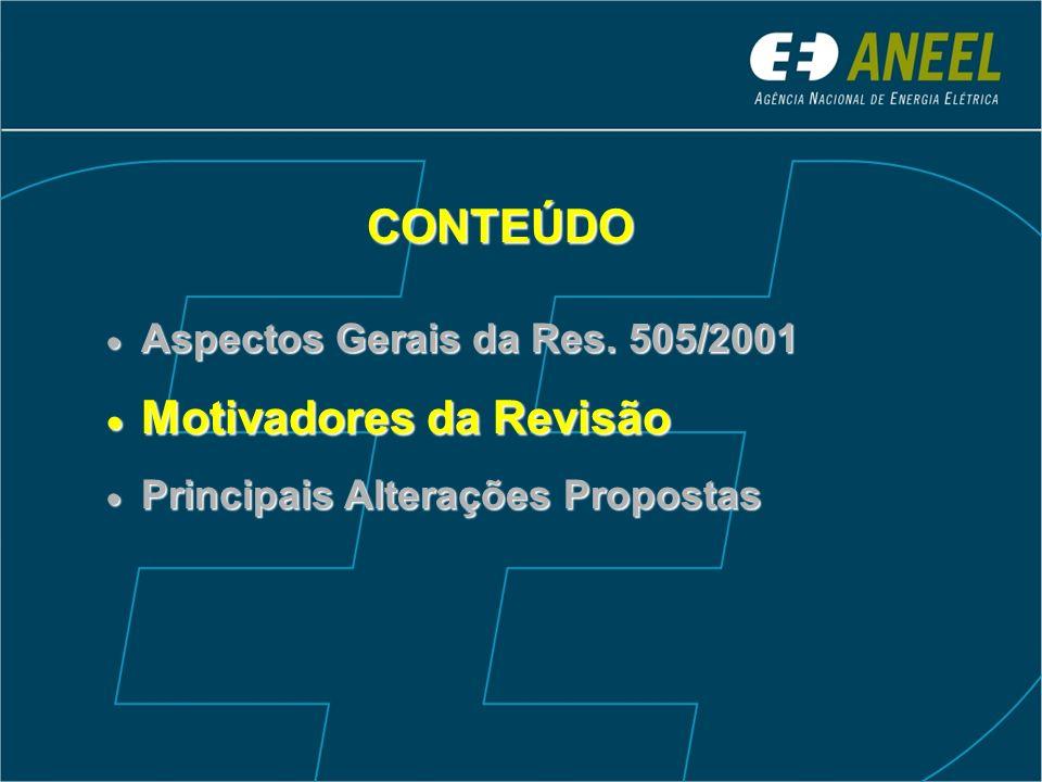 CONTEÚDO Aspectos Gerais da Res. 505/2001 Aspectos Gerais da Res. 505/2001 Motivadores da Revisão Motivadores da Revisão Principais Alterações Propost