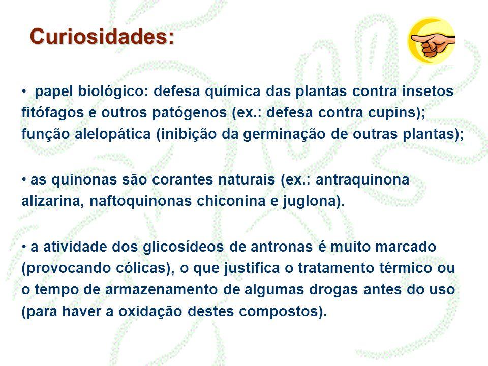 Curiosidades: papel biológico: defesa química das plantas contra insetos fitófagos e outros patógenos (ex.: defesa contra cupins); função alelopática