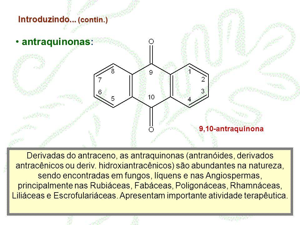 Introduzindo... (contin.) antraquinonas : 9,10-antraquinona Derivadas do antraceno, as antraquinonas (antranóides, derivados antracênicos ou deriv. hi