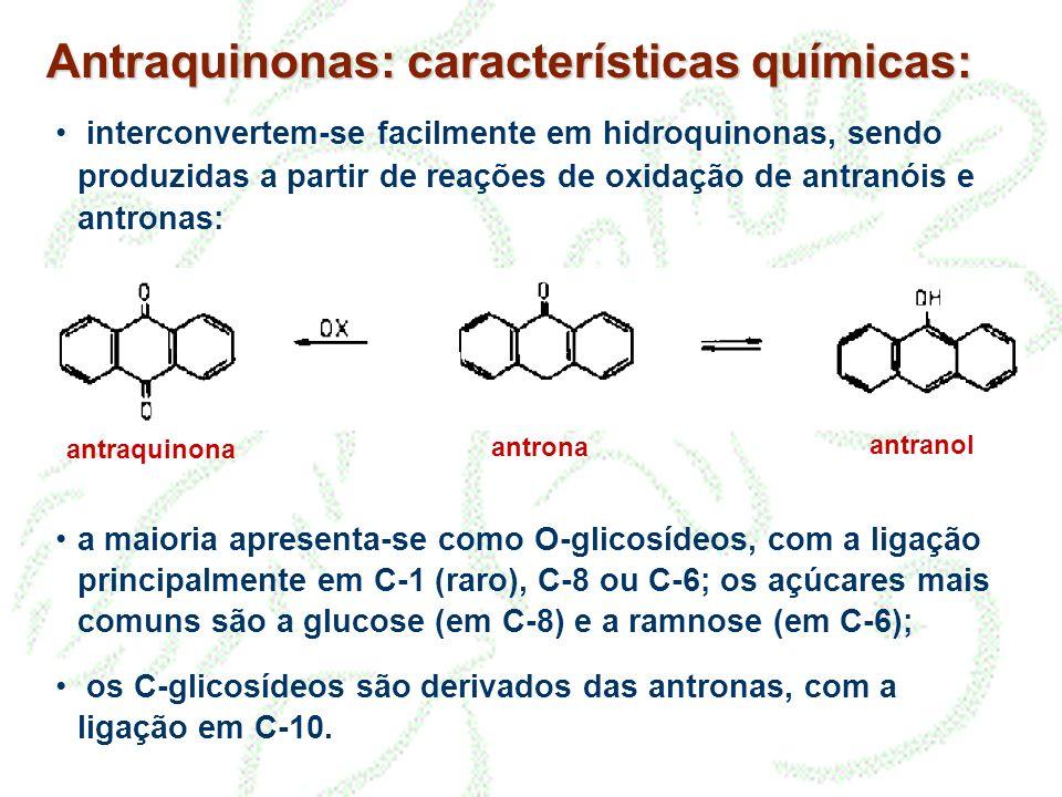 Antraquinonas: características químicas: interconvertem-se facilmente em hidroquinonas, sendo produzidas a partir de reações de oxidação de antranóis