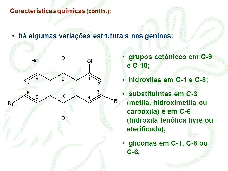 Características químicas (contin.): há algumas variações estruturais nas geninas: grupos cetônicos em C-9 e C-10; hidroxilas em C-1 e C-8; substituint