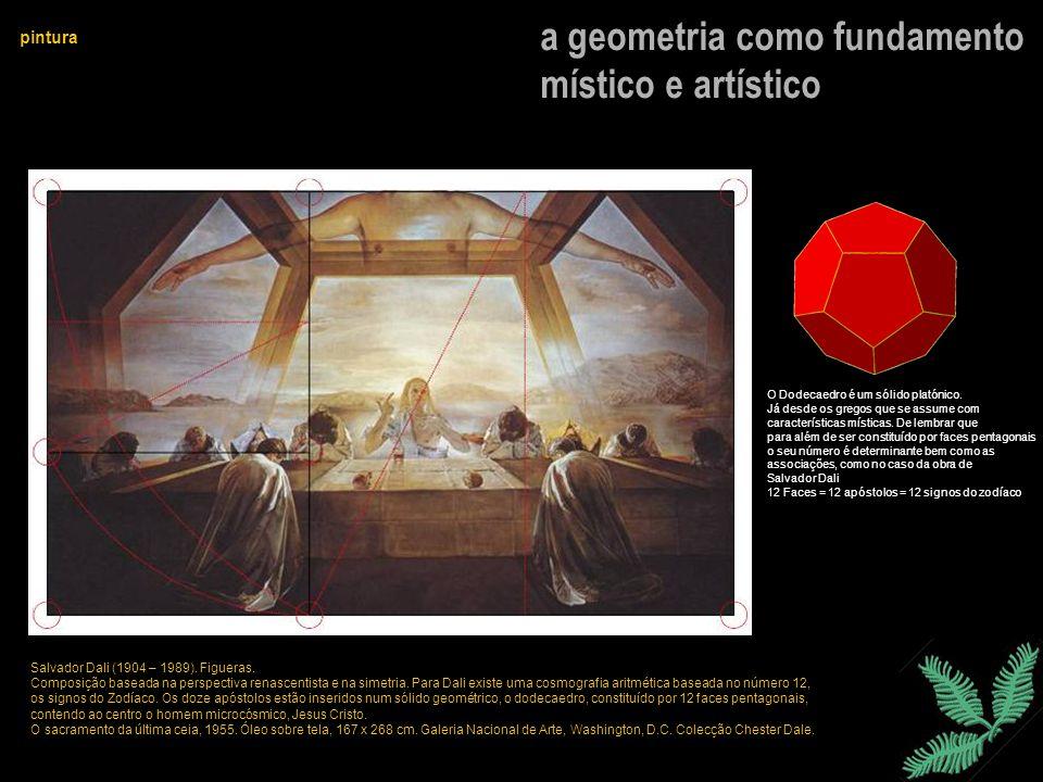 a geometria como fundamento místico e artístico pintura Salvador Dali (1904 – 1989). Figueras. Composição baseada na perspectiva renascentista e na si