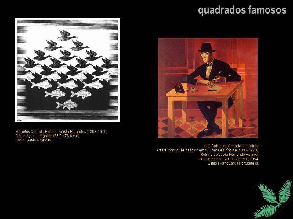 quadrados famosos José Sobral de Almada Negreiros. Artista Português nascido em S. Tomé e Príncipe (1893-1970). Retrato do poeta Fernando Pessoa. Óleo