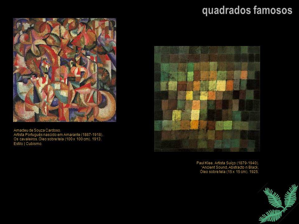 quadrados famosos Amadeu de Souza Cardoso. Artista Português nascido em Amarante (1887-1918). Os cavaleiros. Óleo sobre tela (100 x 100 cm). 1913. Est