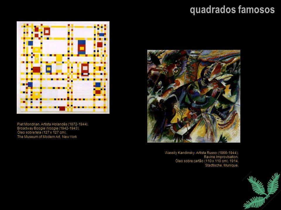 quadrados famosos Piet Mondrian. Artista Holandês (1872-1944). Broadway Boogie Woogie (1942-1943). Óleo sobre tela (127 x 127 cm). The Museum of Moder