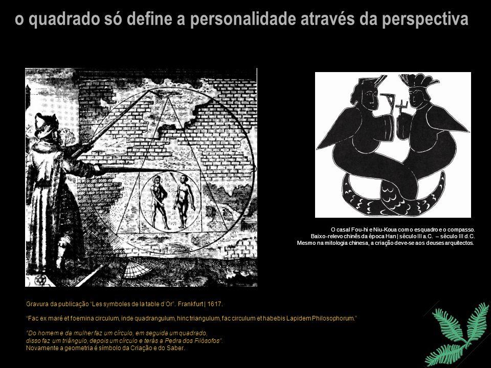 o quadrado só define a personalidade através da perspectiva O casal Fou-hi e Niu-Koua com o esquadro e o compasso. Baixo-relevo chinês da época Han |