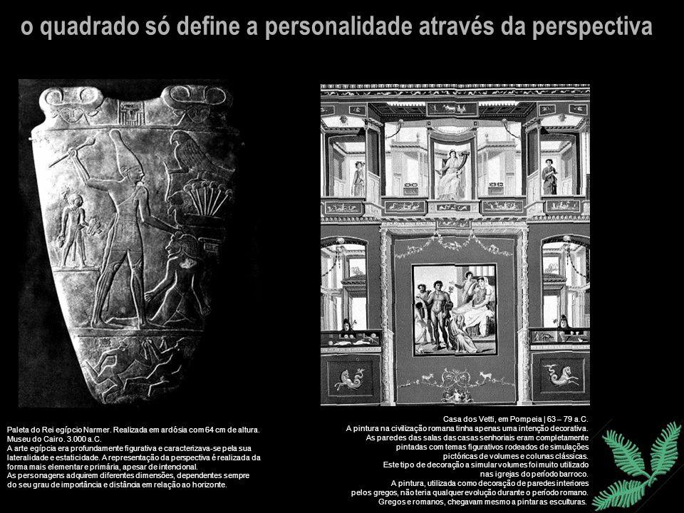 Paleta do Rei egípcio Narmer. Realizada em ardósia com 64 cm de altura. Museu do Cairo. 3.000 a.C. A arte egípcia era profundamente figurativa e carac