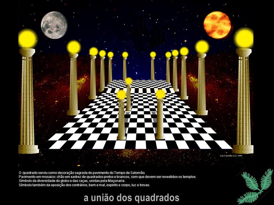 a união dos quadrados O quadrado serviu como decoração sagrada do pavimento do Tempo de Salomão. Pavimento em mosaico: chão em xadrez de quadrados pre