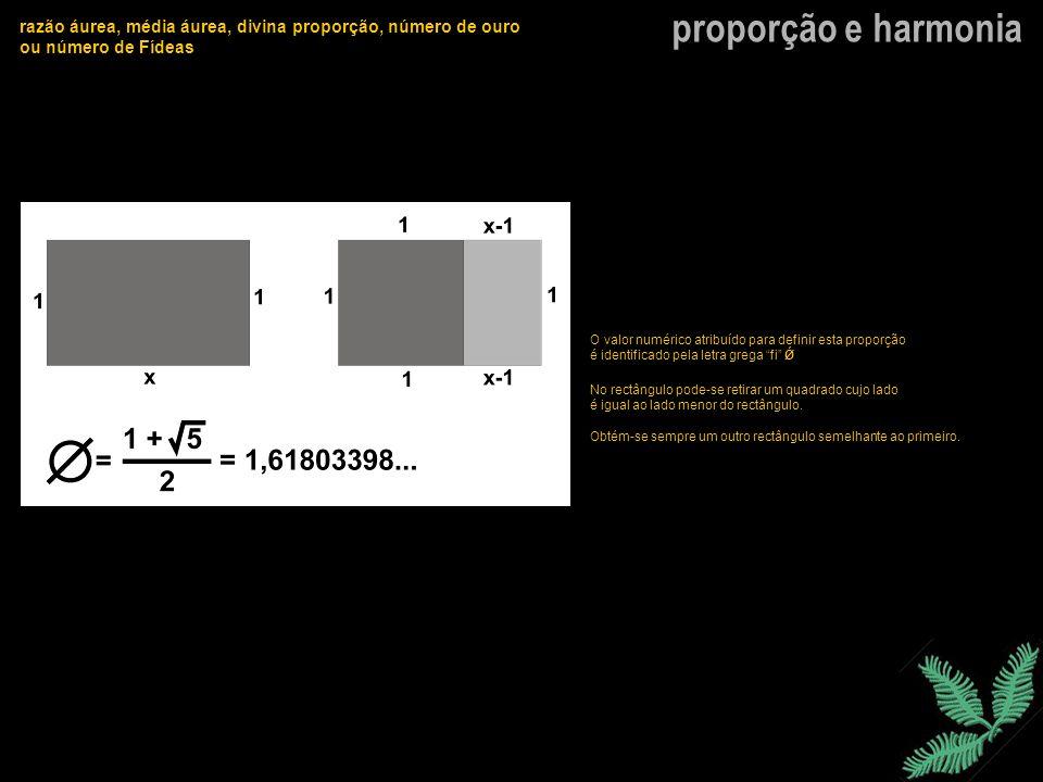 proporção e harmonia razão áurea, média áurea, divina proporção, número de ouro ou número de Fídeas 1º Processo (determinação a partir de um quadrado) Construído o quadrado de lado (a), é traçada a sua mediana vertical que permite obter dois rectângulos iguais (a/2).