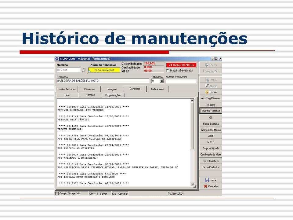 Histórico de manutenções