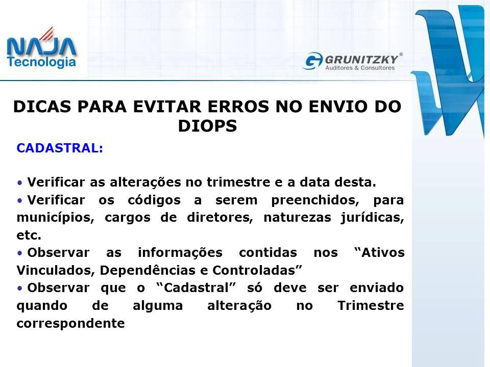 DICAS PARA EVITAR ERROS NO ENVIO DO DIOPS CADASTRAL: Verificar as alterações no trimestre e a data desta.