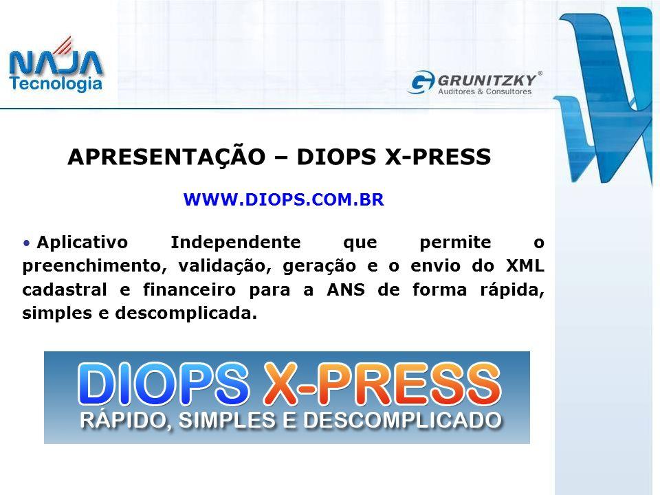 APRESENTAÇÃO – DIOPS X-PRESS WWW.DIOPS.COM.BR Aplicativo Independente que permite o preenchimento, validação, geração e o envio do XML cadastral e financeiro para a ANS de forma rápida, simples e descomplicada.