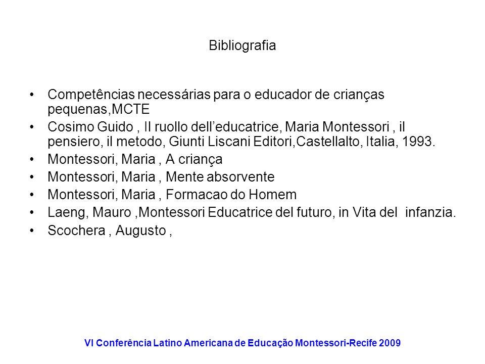 VI Conferência Latino Americana de Educação Montessori-Recife 2009 Bibliografia Competências necessárias para o educador de crianças pequenas,MCTE Cos