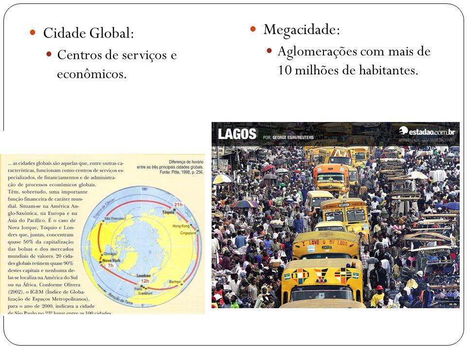 Cidade Global: Centros de serviços e econômicos. Megacidade: Aglomerações com mais de 10 milhões de habitantes.