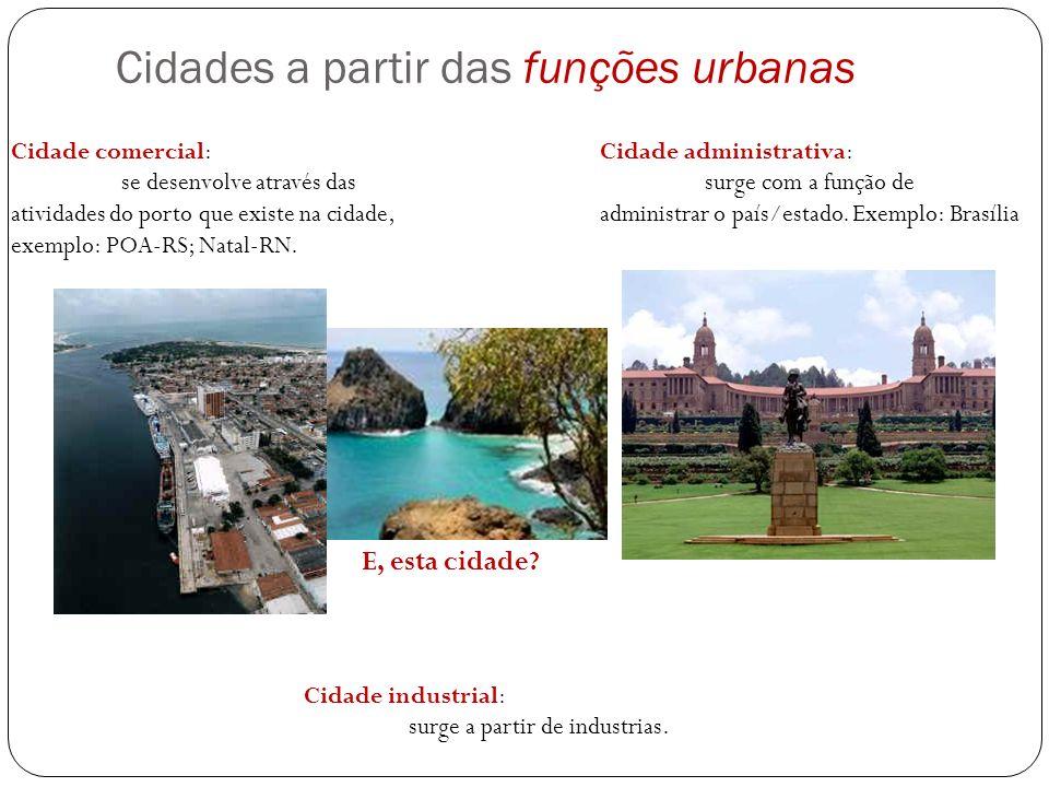 Cidades a partir das funções urbanas Cidade administrativa: surge com a função de administrar o país/estado. Exemplo: Brasília Cidade industrial: surg
