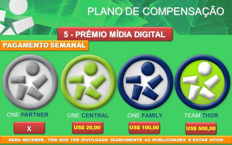 PLANO DE COMPENSAÇÃO 5 - PRÊMIO MÍDIA DIGITAL X US$ 20,00US$ 100,00 US$ 500,00 PAGAMENTO SEMANAL PARA RECEBER, TEM QUE TER DIVULGADO DIARIAMENTE AS PU