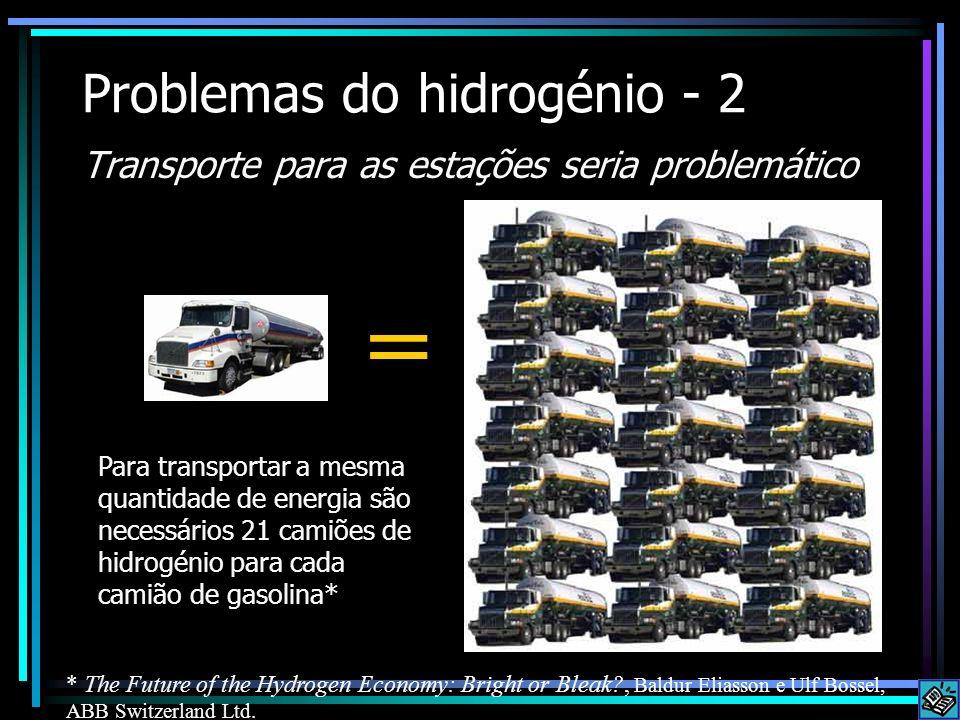 Problemas do hidrogénio - 2 Transporte para as estações seria problemático Para transportar a mesma quantidade de energia são necessários 21 camiões d