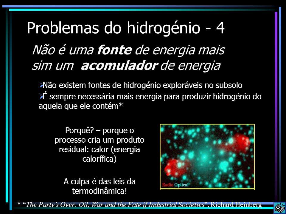 Problemas do hidrogénio - 4 Não existem fontes de hidrogénio exploráveis no subsolo É sempre necessária mais energia para produzir hidrogénio do aquel