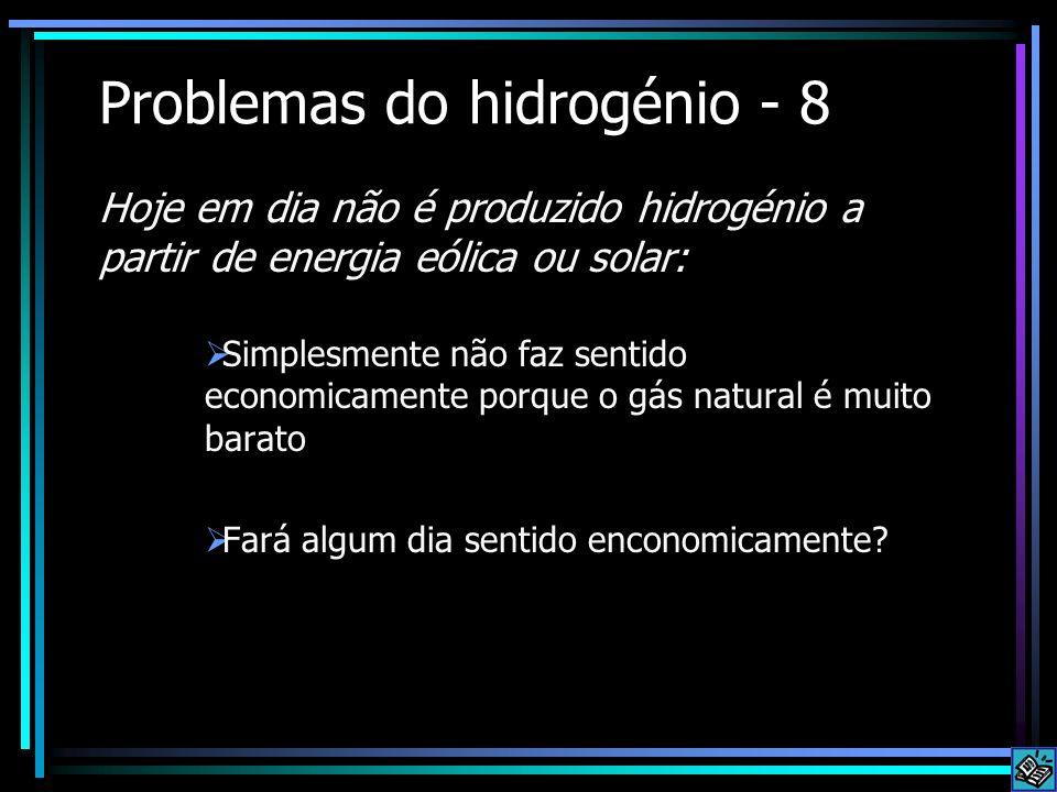 Problemas do hidrogénio - 8 Simplesmente não faz sentido economicamente porque o gás natural é muito barato Fará algum dia sentido enconomicamente? Ho