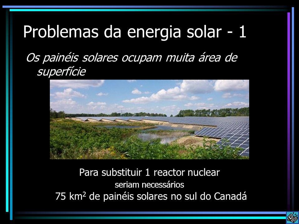 Problemas da energia solar - 1 Os painéis solares ocupam muita área de superfície Para substituir 1 reactor nuclear seriam necessários 75 km 2 de pain