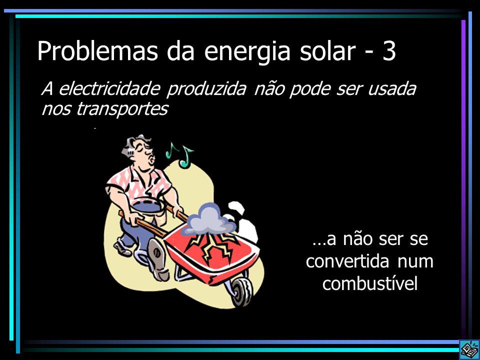 Problemas da energia solar - 3 A electricidade produzida não pode ser usada nos transportes …a não ser se convertida num combustível