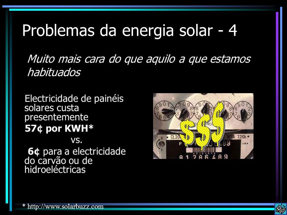 Problemas da energia solar - 4 Electricidade de painéis solares custa presentemente 57¢ por KWH* vs. 6¢ para a electricidade do carvão ou de hidroeléc