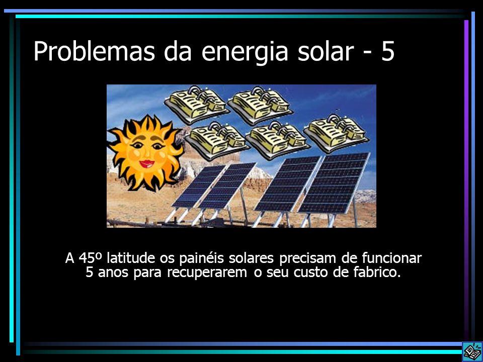 Problemas da energia solar - 5 A 45º latitude os painéis solares precisam de funcionar 5 anos para recuperarem o seu custo de fabrico.