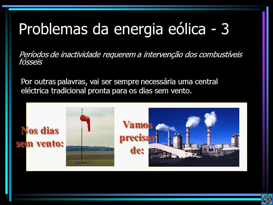 Problemas da energia eólica - 3 Períodos de inactividade requerem a intervenção dos combustíveis fósseis Por outras palavras, vai ser sempre necessári
