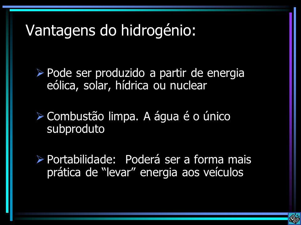Problemas do hidrogénio - 1 Características físicas: 10 X mais inflamável que a gasolina O seu alcançe explosivo é 20 X superior ao da gasolina Pouca energia por volume (requer tanques enormes) Chama invisível Tamanho reduzido da molécula de hidrogénio, perde- se facilmente Hidrogénio Número Atómico: 1 Massa Atómica: 1.00797