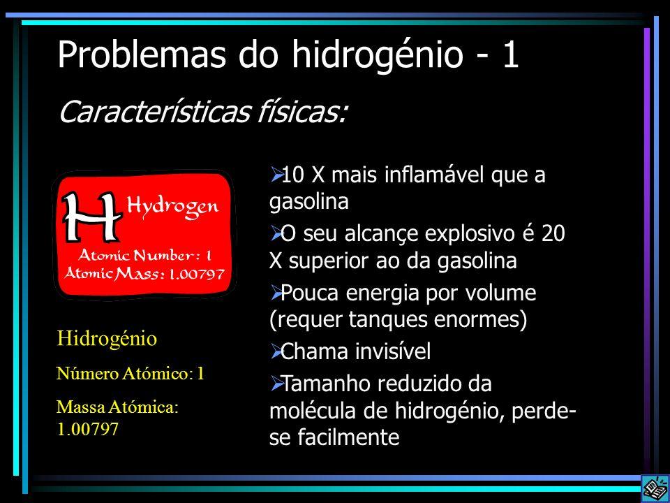 Problemas do hidrogénio - 1 Características físicas: 10 X mais inflamável que a gasolina O seu alcançe explosivo é 20 X superior ao da gasolina Pouca