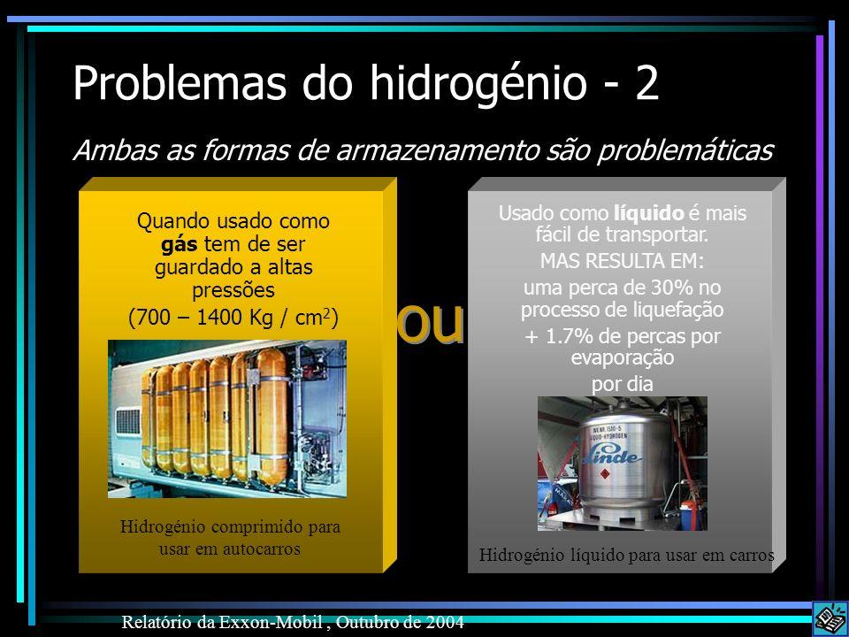 Problemas do hidrogénio - 2 Ambas as formas de armazenamento são problemáticas Relatório da Exxon-Mobil, Outubro de 2004 Usado como líquido é mais fác