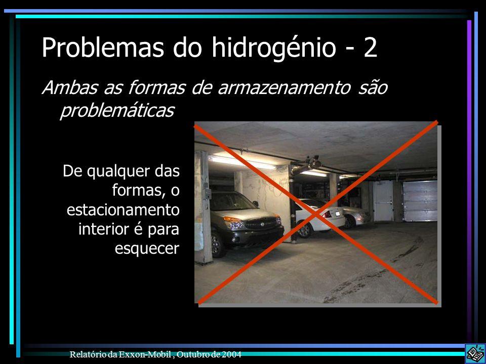 Problemas do hidrogénio - 2 Ambas as formas de armazenamento são problemáticas Relatório da Exxon-Mobil, Outubro de 2004 De qualquer das formas, o est