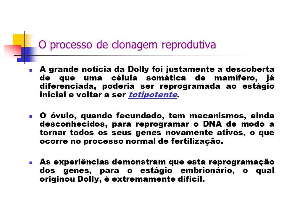 O processo de clonagem reprodutiva A grande notícia da Dolly foi justamente a descoberta de que uma célula somática de mamífero, já diferenciada, pode
